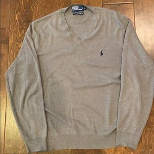 Grey Polo V-Neck Cotton Sweater - Large